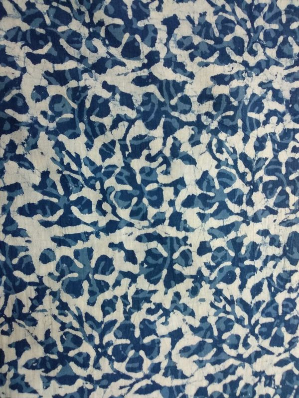 White indigo leaf print cotton running material