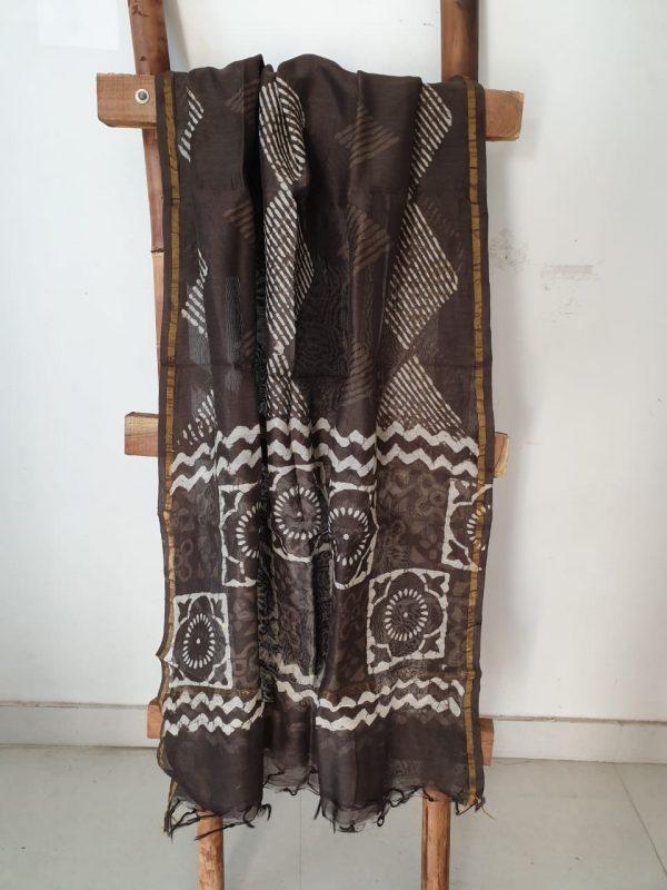Brown batik square print casual wear block print chanderi dupatta
