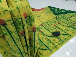 Lemon shibori print cotton mulmul saree