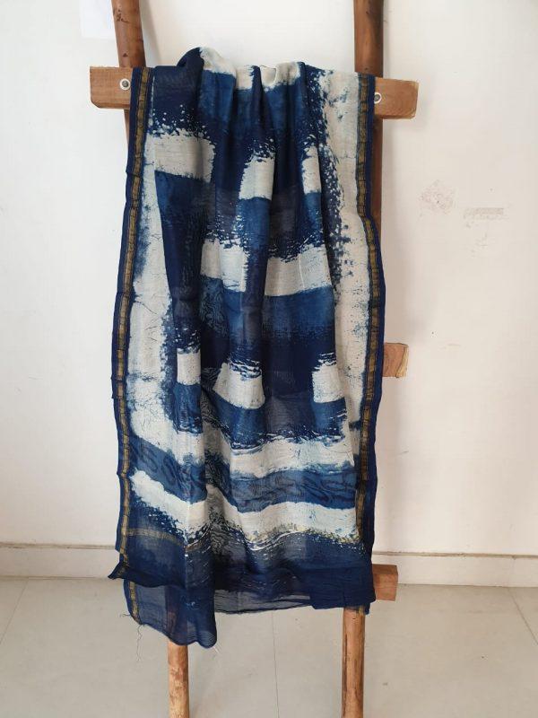Navy blue batik print block printed chanderi dupattas