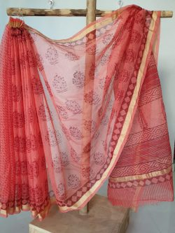 Red color kota silk saree with blouse
