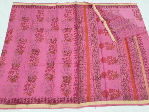 Magenta color kota silk saree with blouse