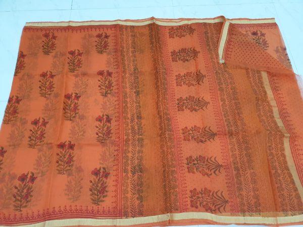 Ocher color kota silk saree with blouse