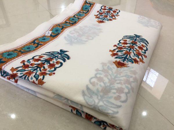 White mughalprint cotton running material