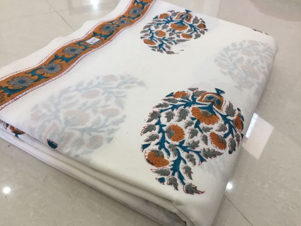 Ladies white mughal floral print cotton running material
