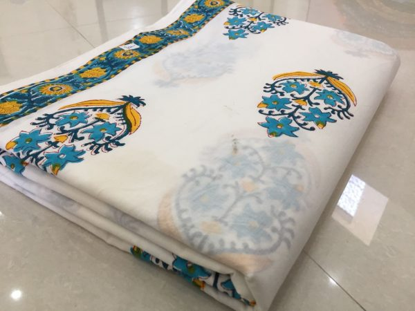 Traditional white mughal floral print running material