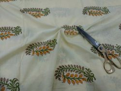 Traditional yellow mughal print cotton running material