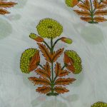 White mughalfloral print cotton running material