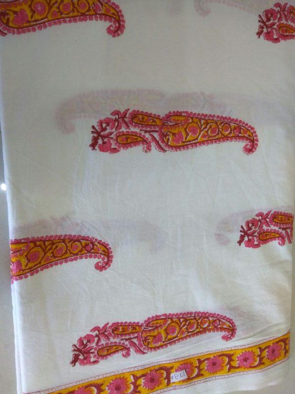 White mughalpaisley print running material