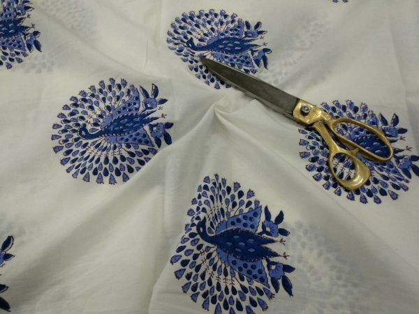 White mughal peacock print cotton running material