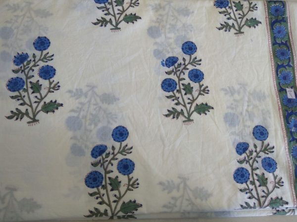 White mughal floral print cotton running material