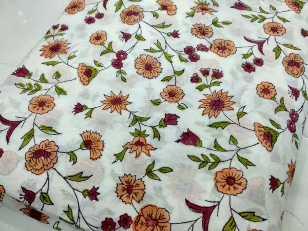 White pigment floral print running material