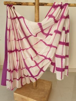 White violet cotton mulmul saree with blouse