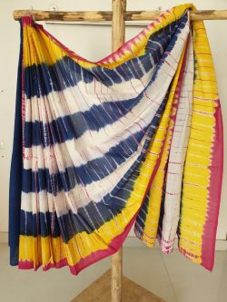 Shibori yellow blue white cotton mulmul saree