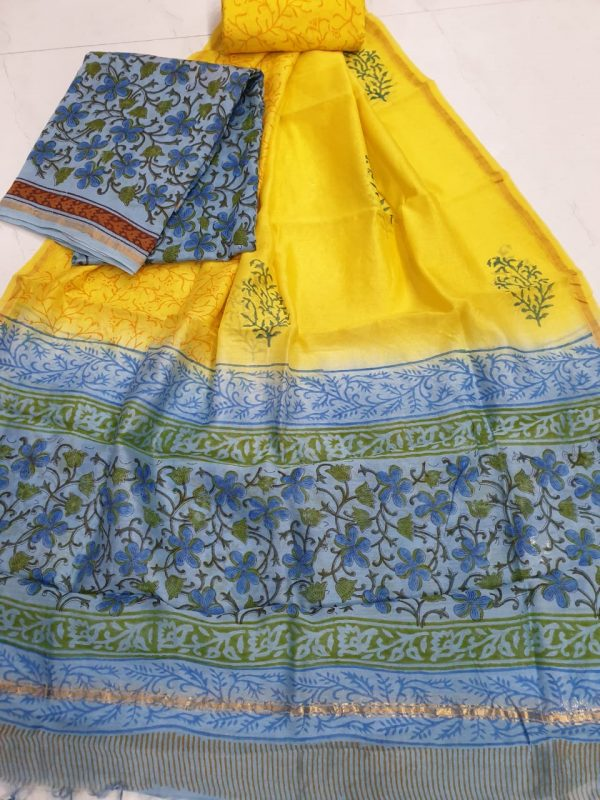 Yellow rapid floral print casual wear chanderi suit with chaderi dupatta