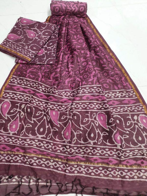 Bagru print chanderi suit with dupatta ( Maroon)