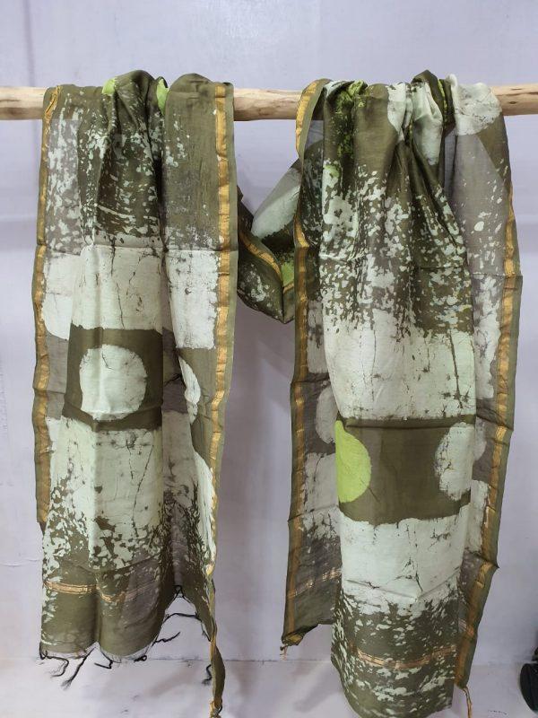 Brown shibori print block printed chanderi dupattas
