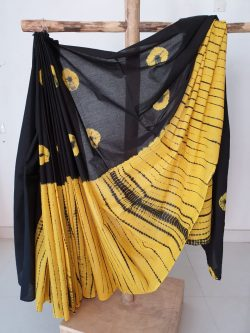Yellow black shibori print cotton saree with blouse