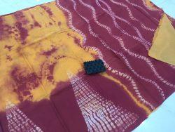 Traditional Shibori Soft Cotton Mulmul Saree (157)