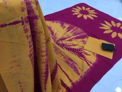 Traditional Shibori Soft Cotton Mulmul Saree (159)
