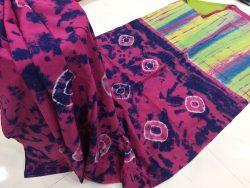 Traditional Shibori Soft Cotton Mulmul Saree (62)
