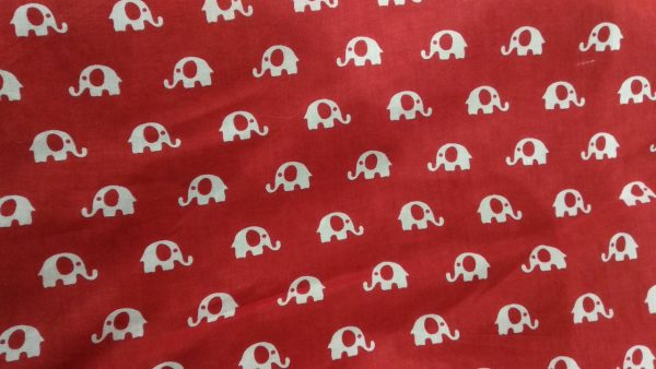 Bagru elephant print running material( Prussian blue , Red, Gray )