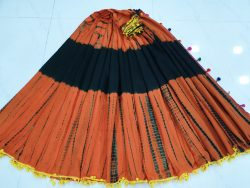 Pompom Cotton Saree With Blouse 1