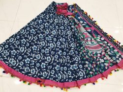 Pompom Cotton Saree With Blouse 3