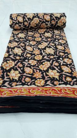Black rapid floral print cotton running material