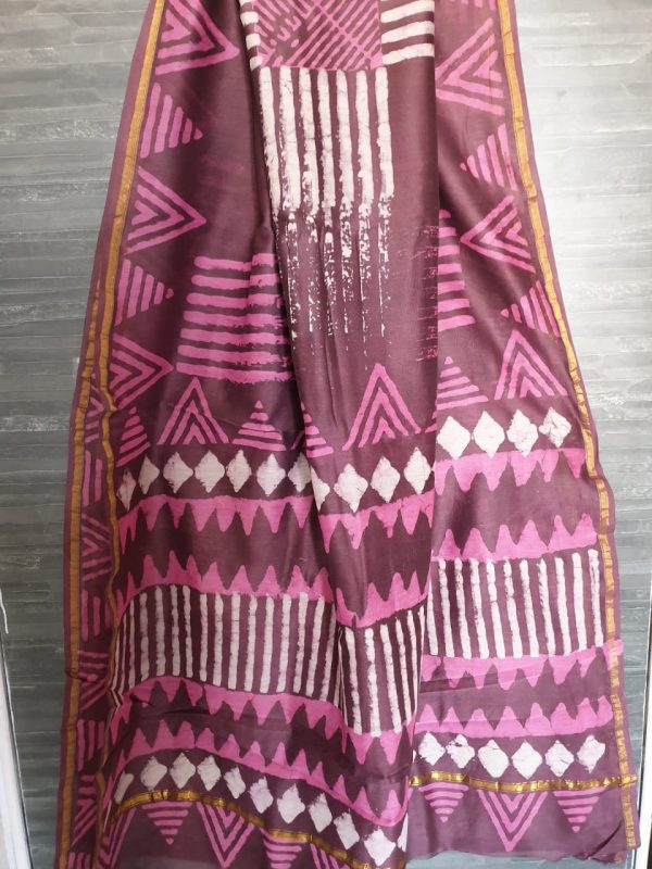 Violet chanderi saree with blouse