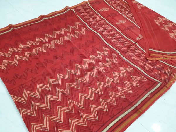 Red chanderi silk saree with blouse