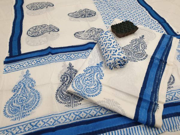 White paisley mughal print printed cotton suits
