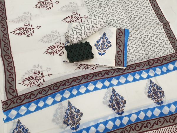 White mughal print printed cotton suits