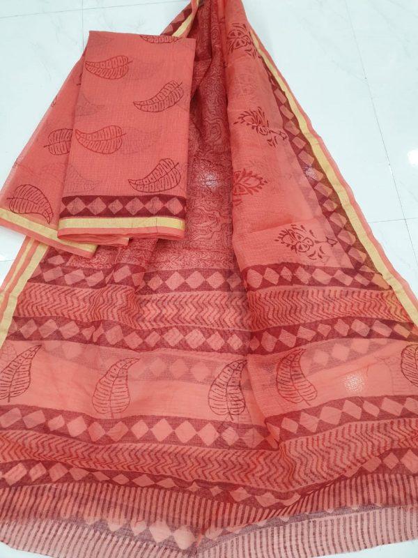Crimson red Kota doria top and bottom set