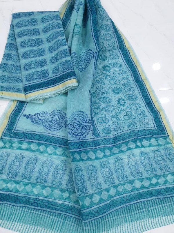 Mugal print Kota doria sky blue top and dupatta