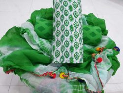 Green pompom cotton suit with leaf print