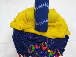 Pom pom cotton suit in navy blue and yellow color
