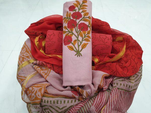Floral cotton zari border mughal print suit
