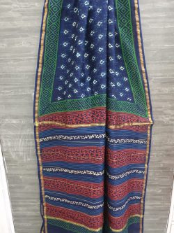Prussian blue chanderi silk saree in mughal print with blouse