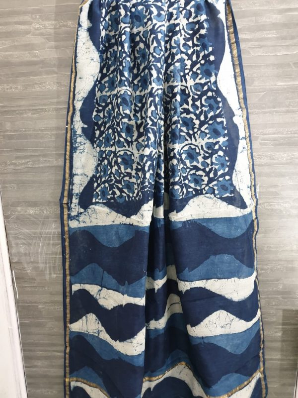 Ivory and sapphire chanderi silk saree in batik print with blouse