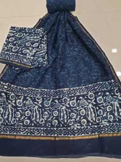 Prussian blue rapid print chanderi silk suit with cotton bottom (Copy)