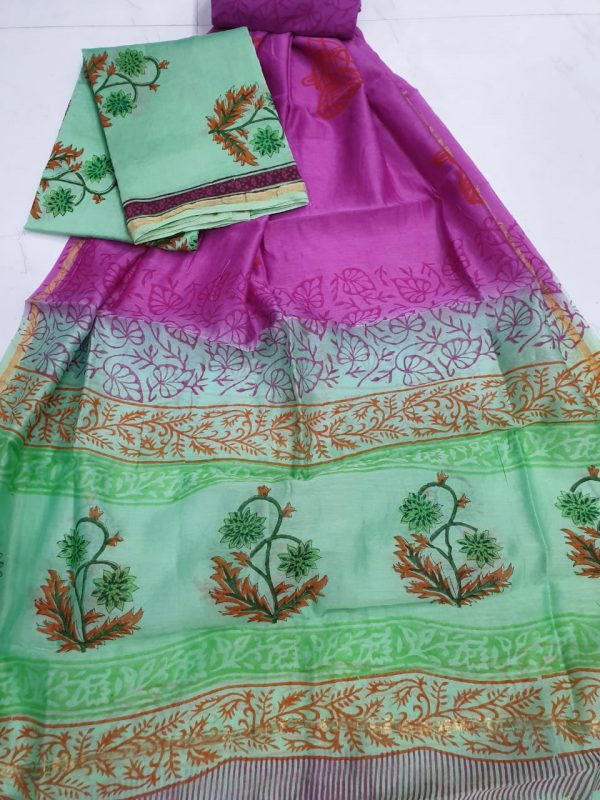 Magenta and cyan chanderi silk suit with cotton bottom