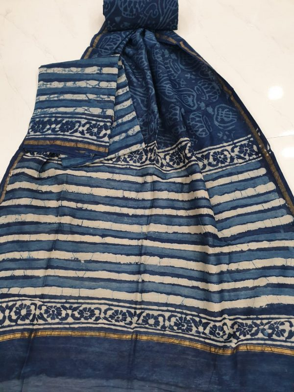 Prussian blue and slate gray chanderi silk suit with cotton bottom