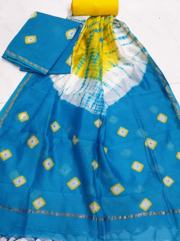Azure chanderi silk suit with cotton bottom