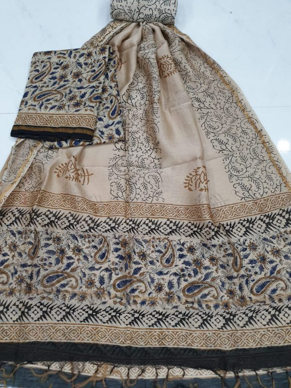 Champagne chanderi silk suit with cotton bottom