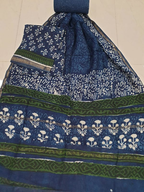 Prussian blue chanderi silk suit with cotton bottom