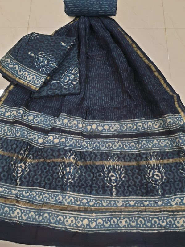 Black and slate gray chanderi silk suit with cotton bottom
