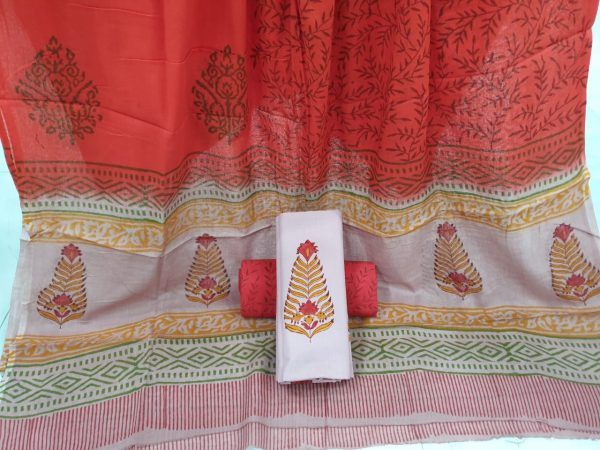 Red cotton suits mughal print