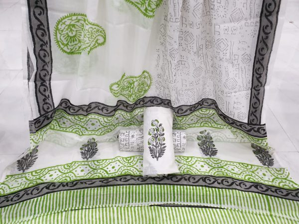 White paisley mughal print cotton suits