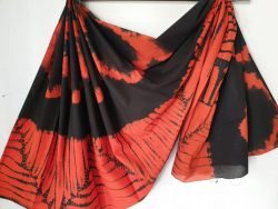 Scarlet and black shibori print cotton mul saree